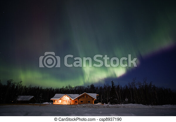 Active northern lights display in Alaska - csp8937190
