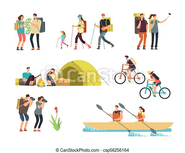 Cartoon Travelling Family Outdoor Hiking And Trekking Tourists Vector