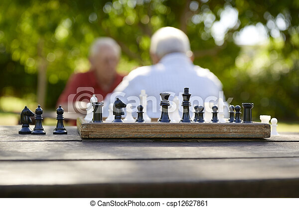 Active retired people, two old friends playing chess at park - csp12627861