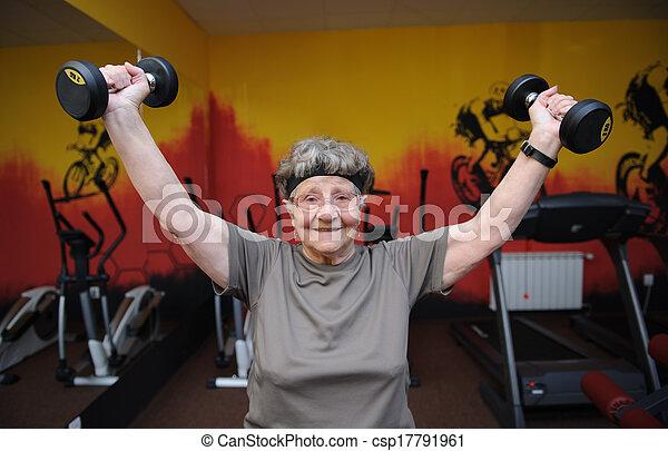 Active senior woman exercising  - csp17791961