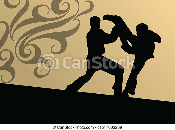 Active tae kwon do martial arts fighters combat fighting and kicking sport silhouettes illustration background vector - csp17003289