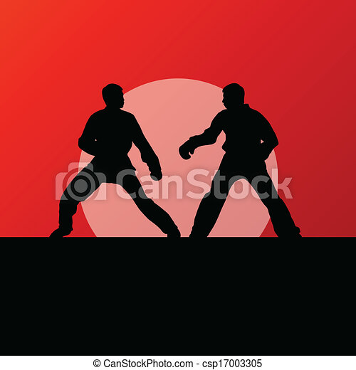 Active tae kwon do martial arts fighters combat fighting and kicking sport silhouettes illustration background vector - csp17003305