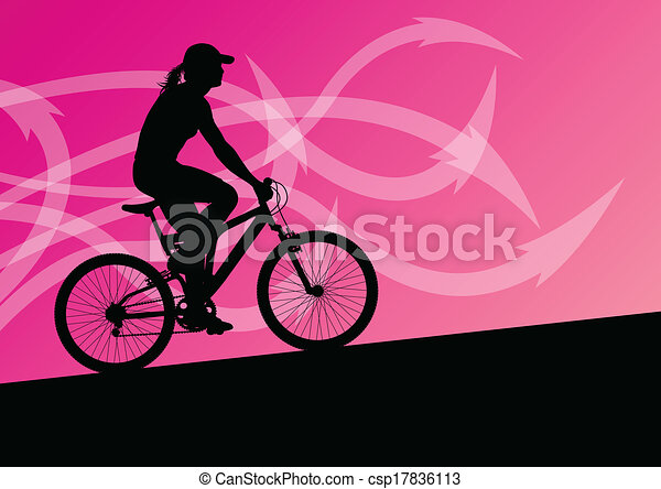 Active woman cyclist bicycle rider in abstract arrow line landscape background illustration vector for poster - csp17836113