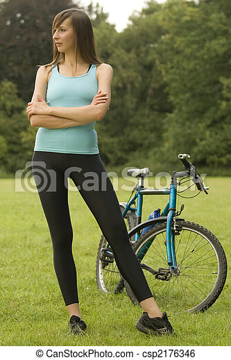 Active Woman with bike - csp2176346