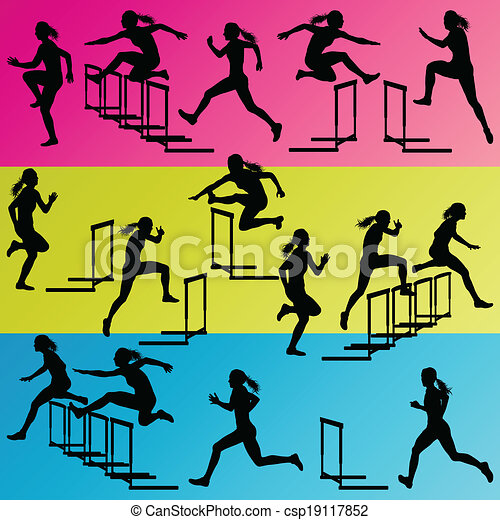 Active women girl sport athletics hurdles barrier running silhouettes illustration collection background vector - csp19117852
