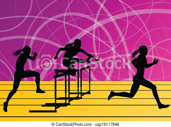 Active women girl sport athletics hurdles barrier running silhouettes illustration background vector - csp19117846