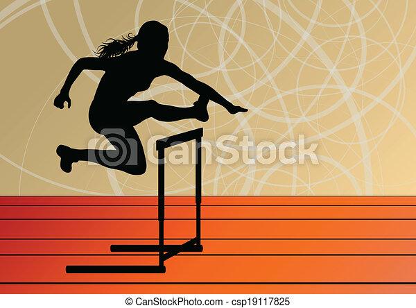 Active women girl sport athletics hurdles barrier running silhouettes illustration background vector - csp19117825
