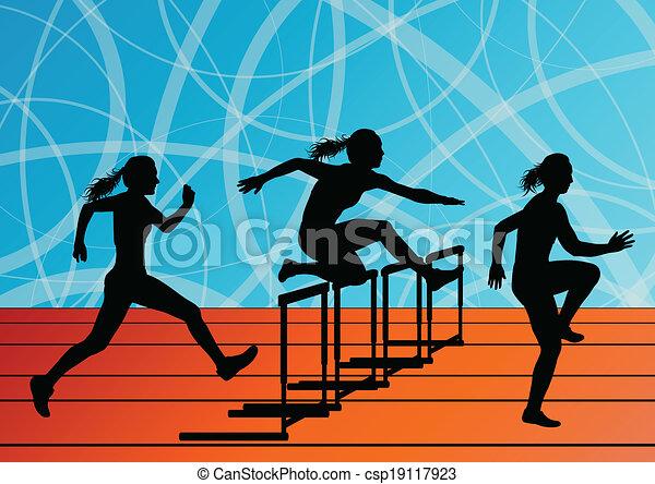 Active women girl sport athletics hurdles barrier running silhouettes illustration background vector - csp19117923
