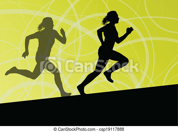 Active women sport athletics running silhouettes illustration abstract background vector - csp19117888