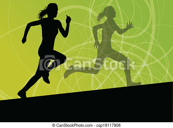 Active women sport athletics running silhouettes illustration abstract background vector - csp19117908