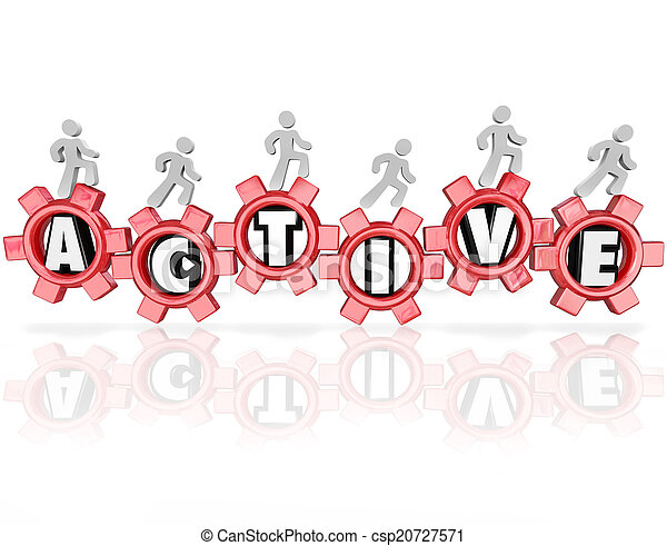 Active Word Gears People Exercising Physical Activity Fitness - csp20727571