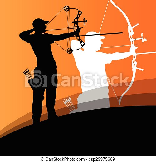 Active young archery sport man and woman silhouettes in abstract - csp23375669