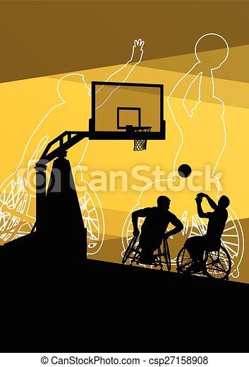 Active young disabled men basketbal - csp27158908