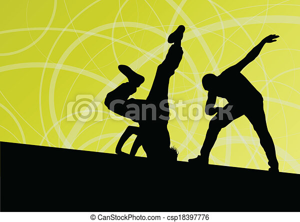 Active young man and woman street break dancers silhouettes in abstract line background illustration vector - csp18397776