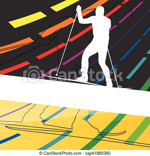 Active young man skiing sport silhouettes in winter abstract line background outdoor illustration - csp41880380