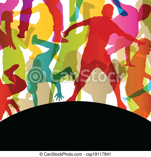 Active young men and women street break dancers silhouettes in abstract background illustration vector - csp19117841