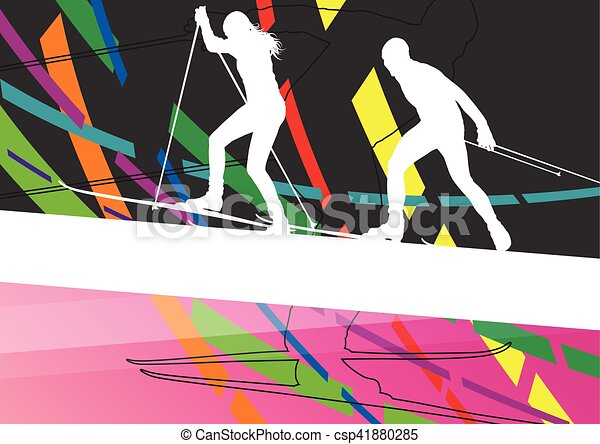 Active young woman and man skiing sport silhouettes in winter abstract line background outdoor illustration - csp41880285