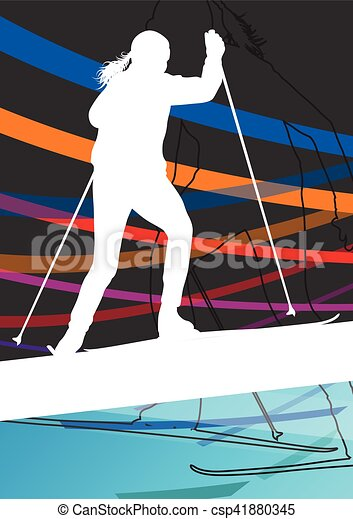 Active young women skiing sport silhouettes in winter abstract line background outdoor illustration - csp41880345