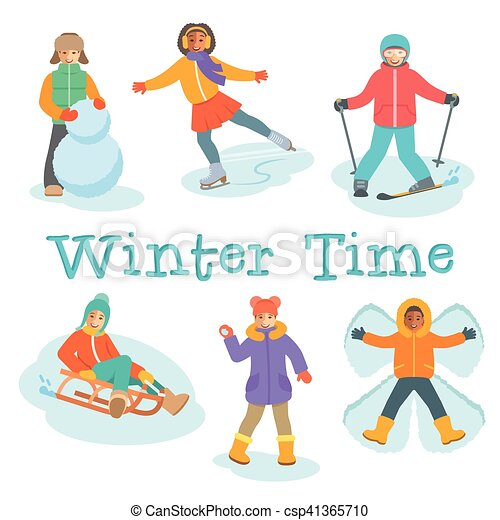 Actividades, al aire libre, invierno, niños, juegos, caricatura ...