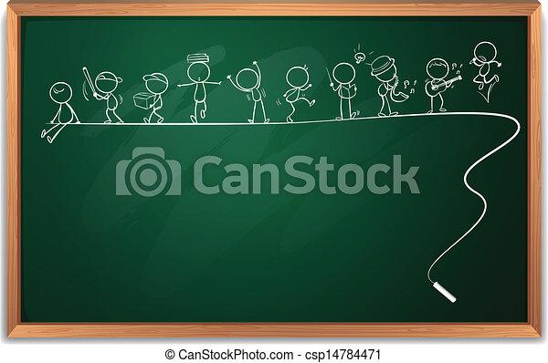 Ilustración de una pizarra con un dibujo de personas participando en diferentes actividades en un fondo blanco - csp14784471