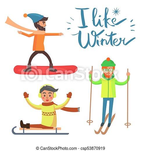 Me gusta el invierno, las actividades ilustran el vector - csp53870919