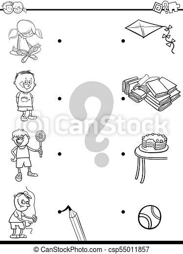 Actividades, libro colorear, igual, niños. Actividades, educativo ...