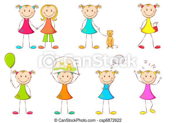 Chica haciendo diferentes actividades - csp6872622
