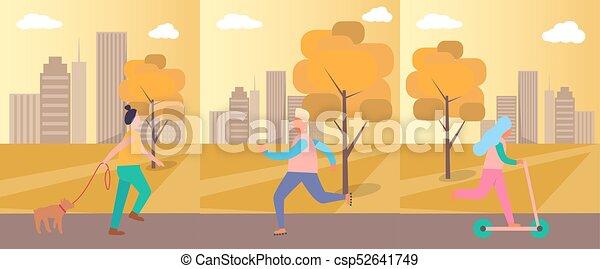 Gente haciendo actividades en ilustración de vectores - csp52641749