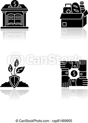 Activism drop shadow black glyph icons set - csp81489905