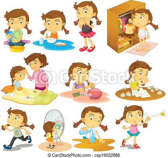 activités, différent, jeune fille - csp19022886