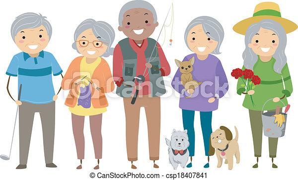 activités, personnes troisième âge - csp18407841