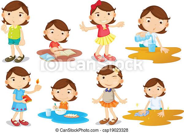 activiteiten, meisje, jonge, alledaags - csp19023328