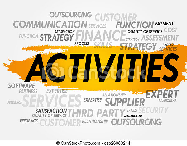 word cloud of activities related items presentation background