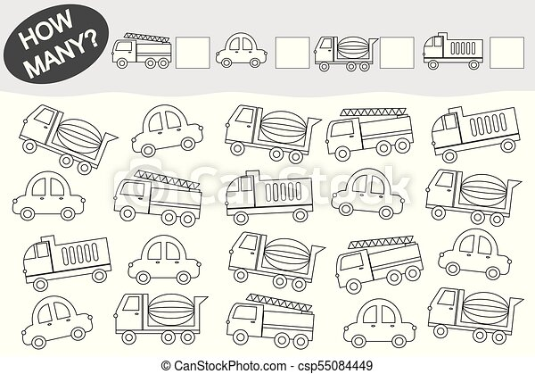 Activity for children. Counting educational game. Coloring book. Transport. - csp55084449