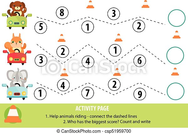 Activity page for children. handwriting practice and... vector ...