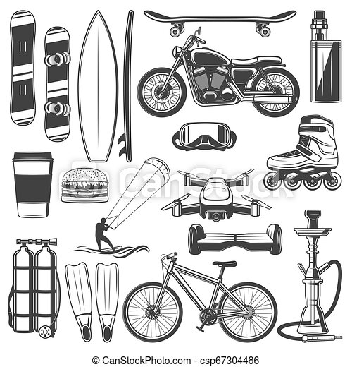 Activity sport and hobby, equipment icons - csp67304486