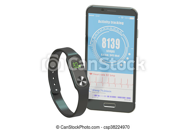 activity tracker or fitness bracelet with smartphone, 3D rendering - csp38224970