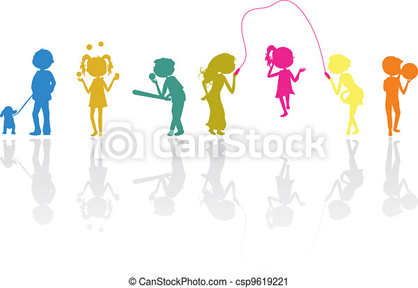 activo, siluetas, niños, deportes - csp9619221