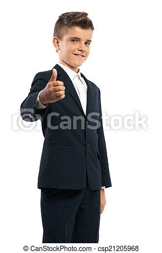 Un colegial feliz mostrando pulgares arriba - csp21205968