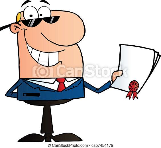 Hombre de negocios con contrato - csp7454179