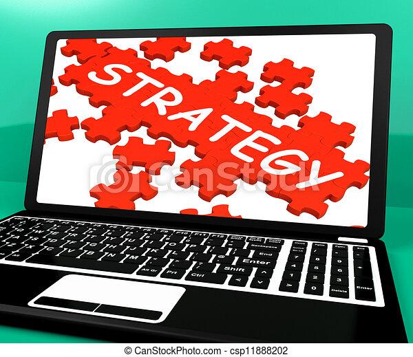 El rompecabezas de estrategia en el cuaderno que muestra soluciones en línea - csp11888202