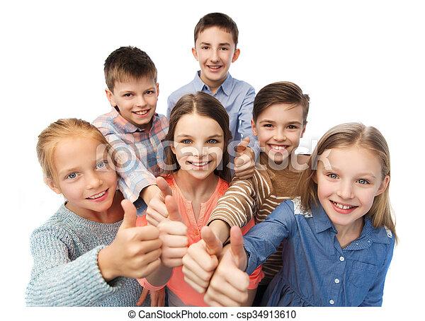 actuación, feliz, niños, arriba, pulgares - csp34913610