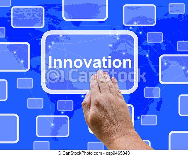 Un botón de innovación que muestra creatividad o visión - csp9465343