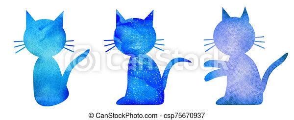 acuarela, conjunto, gatos, blanco - csp75670937