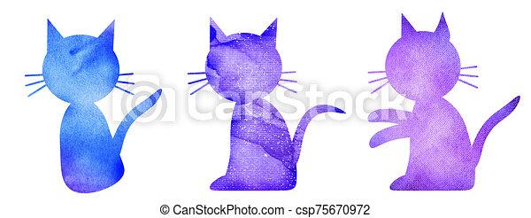 acuarela, conjunto, gatos, blanco - csp75670972