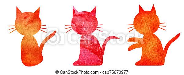 acuarela, conjunto, gatos, blanco - csp75670977