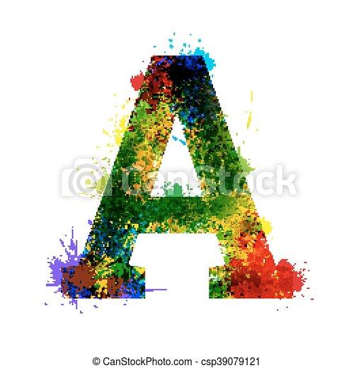 El alfabeto de decoración de acuarelas. Simbolos de tinta aislados en el fondo blanco. Carta A - csp39079121