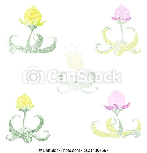 Colección de flores acuarelas de dibujos animados - csp14804567
