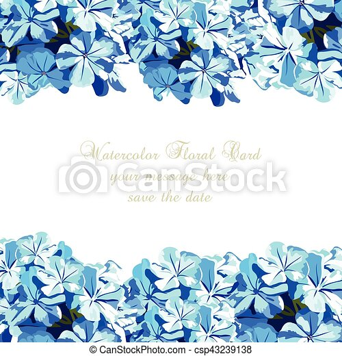 Acuarela Flores Azules Tarjeta Azul Vendimia Aniversario