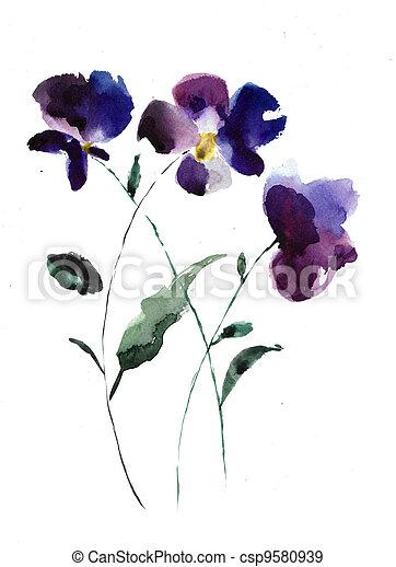 Ilustración acuarela de flores violetas - csp9580939